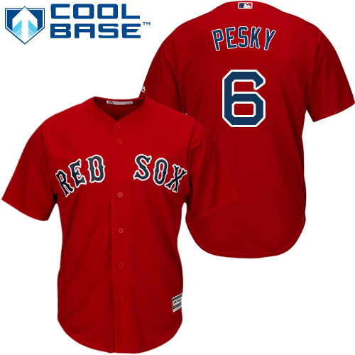 Youth Majestic Boston Red Sox #6 Johnny Pesky Authentic Red Alternate Home Cool Base MLB Jersey