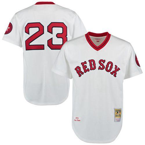 Men's Luis Tiant 1975 Boston Red Sox #23 White Throwback MLB Jersey