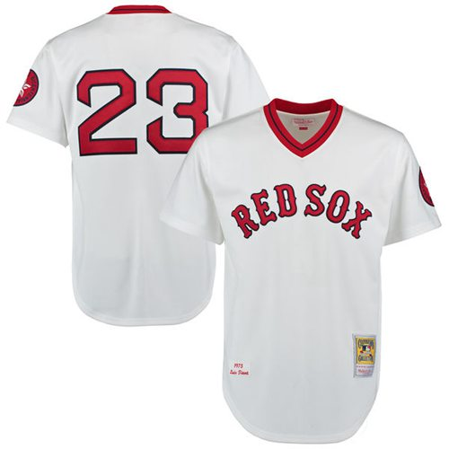 Men's Mitchell and Ness 1975 Boston Red Sox #23 Luis Tiant Replica White Throwback MLB Jersey