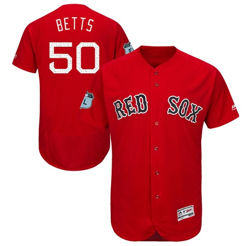 Men's Majestic Boston Red Sox #50 Mookie Betts Scarlet 2017 Spring Training Authentic Collection Flex Base MLB Jersey