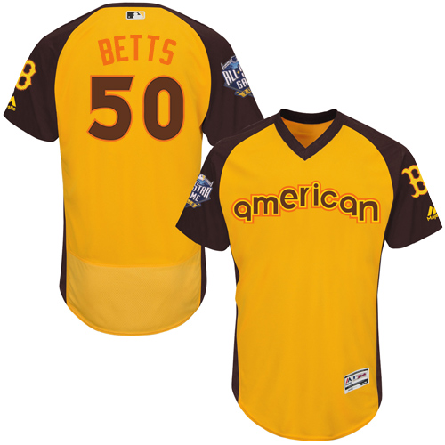 Men's Majestic Boston Red Sox #50 Mookie Betts Yellow 2016 All-Star American League BP Authentic Collection Flex Base MLB Jersey