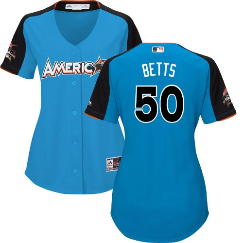 Women's Majestic Boston Red Sox #50 Mookie Betts Authentic Blue American League 2017 MLB All-Star MLB Jersey