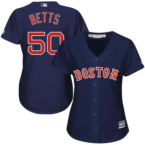 Women's Majestic Boston Red Sox #50 Mookie Betts Replica Navy Blue Alternate Road MLB Jersey