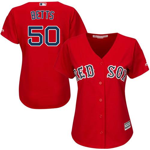 Women's Majestic Boston Red Sox #50 Mookie Betts Replica Red Alternate Home MLB Jersey