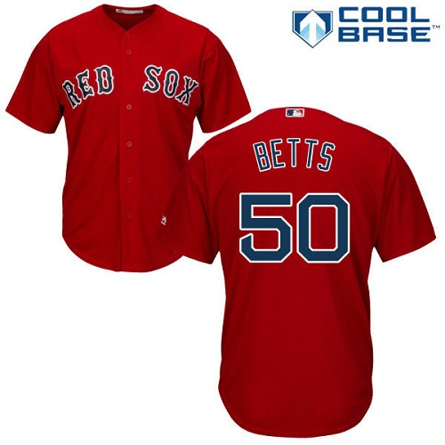 Youth Majestic Boston Red Sox #50 Mookie Betts Authentic Red Alternate Home Cool Base MLB Jersey