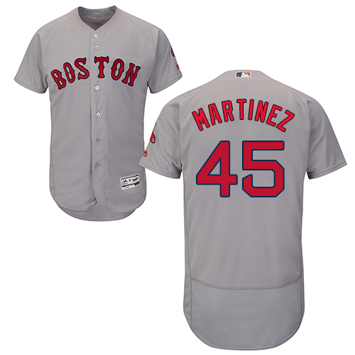 Men's Majestic Boston Red Sox #45 Pedro Martinez Grey Road Flex Base Authentic Collection MLB Jersey