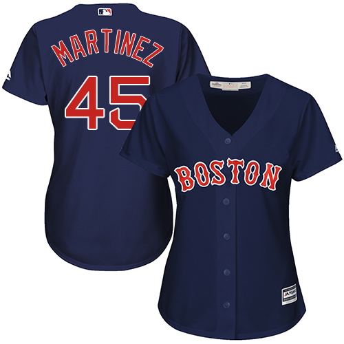 Women's Majestic Boston Red Sox #45 Pedro Martinez Replica Navy Blue Alternate Road MLB Jersey