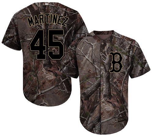 Youth Majestic Boston Red Sox #45 Pedro Martinez Authentic Camo Realtree Collection Flex Base MLB Jersey