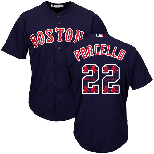 Men's Majestic Boston Red Sox #22 Rick Porcello Authentic Navy Blue Team Logo Fashion Cool Base MLB Jersey