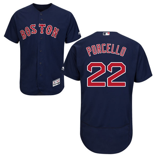 Men's Majestic Boston Red Sox #22 Rick Porcello Navy Blue Alternate Flex Base Authentic Collection MLB Jersey