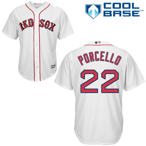 Men's Majestic Boston Red Sox #22 Rick Porcello Replica White Home Cool Base MLB Jersey