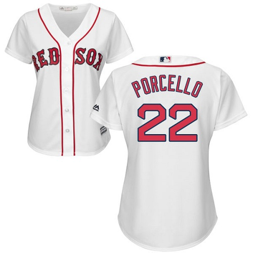 Women's Majestic Boston Red Sox #22 Rick Porcello Replica White Home MLB Jersey