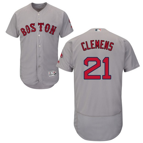 Men's Majestic Boston Red Sox #21 Roger Clemens Grey Flexbase Authentic Collection MLB Jersey