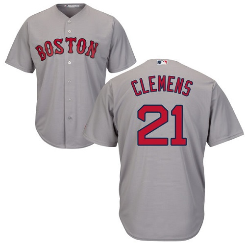 Men's Majestic Boston Red Sox #21 Roger Clemens Replica Grey Road Cool Base MLB Jersey