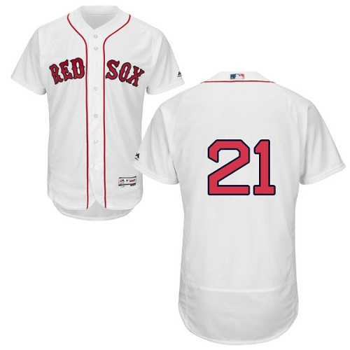 Men's Majestic Boston Red Sox #21 Roger Clemens White Flexbase Authentic Collection MLB Jersey