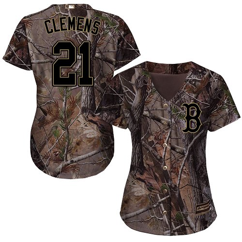 Women's Majestic Boston Red Sox #21 Roger Clemens Authentic Camo Realtree Collection Flex Base MLB Jersey
