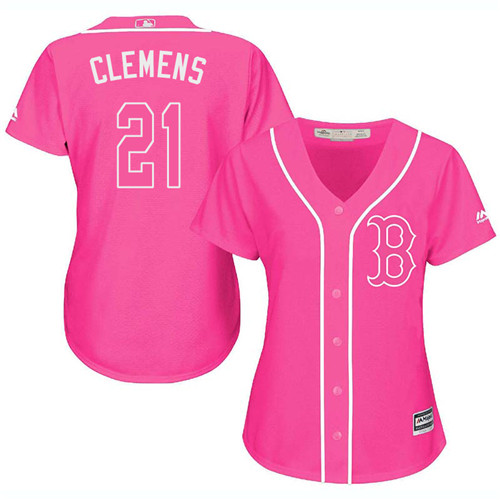 Women's Majestic Boston Red Sox #21 Roger Clemens Authentic Pink Fashion MLB Jersey