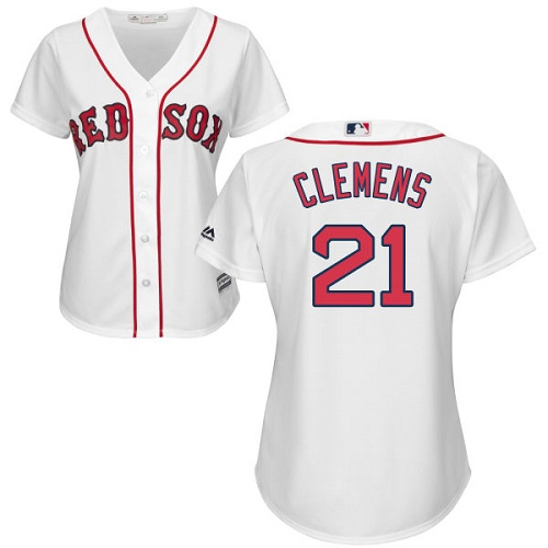 Women's Majestic Boston Red Sox #21 Roger Clemens Replica White Home MLB Jersey