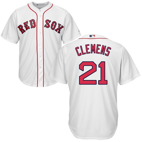 Youth Majestic Boston Red Sox #21 Roger Clemens Authentic White Home Cool Base MLB Jersey