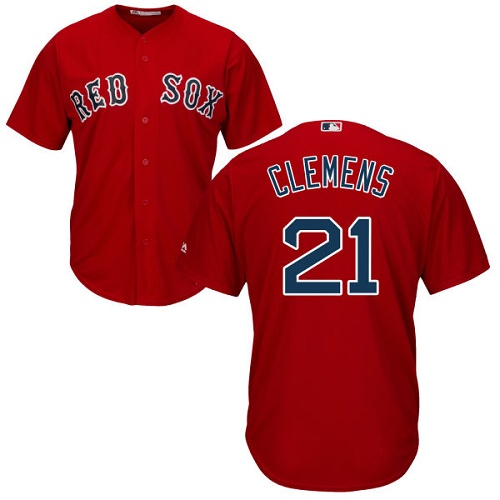 Youth Majestic Boston Red Sox #21 Roger Clemens Replica Red Alternate Home Cool Base MLB Jersey
