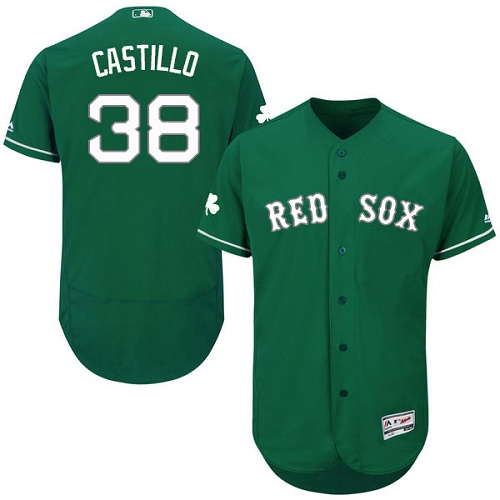 Men's Majestic Boston Red Sox #38 Rusney Castillo Green Celtic Flexbase Authentic Collection MLB Jersey