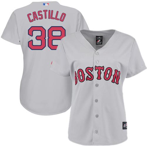 Women's Majestic Boston Red Sox #38 Rusney Castillo Authentic Grey Road MLB Jersey