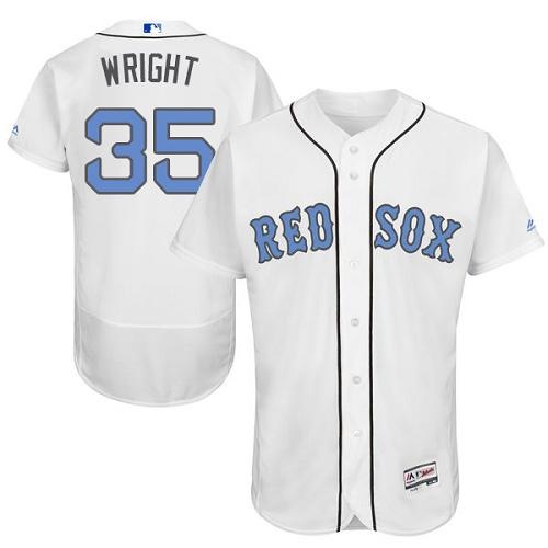 Men's Majestic Boston Red Sox #35 Steven Wright Authentic White 2016 Father's Day Fashion Flex Base MLB Jersey