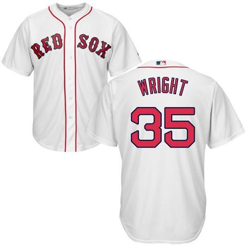 Men's Majestic Boston Red Sox #35 Steven Wright Replica White Home Cool Base MLB Jersey