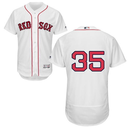Men's Majestic Boston Red Sox #35 Steven Wright White Home Flex Base Authentic Collection MLB Jersey