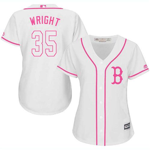 Women's Majestic Boston Red Sox #35 Steven Wright Authentic White Fashion MLB Jersey