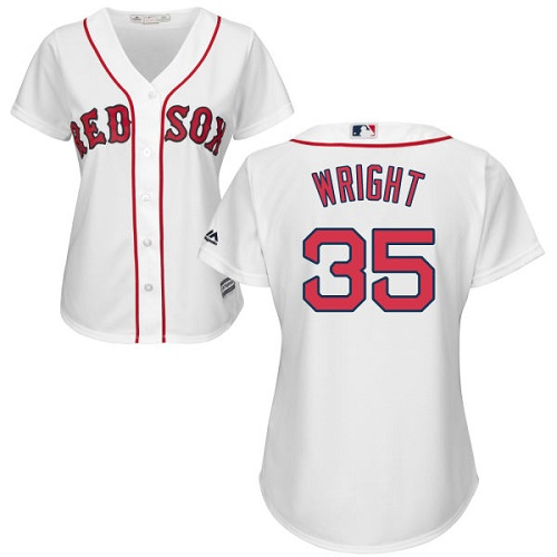 Women's Majestic Boston Red Sox #35 Steven Wright Authentic White Home MLB Jersey