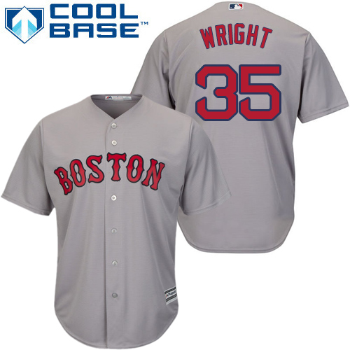 Youth Majestic Boston Red Sox #35 Steven Wright Replica Grey Road Cool Base MLB Jersey