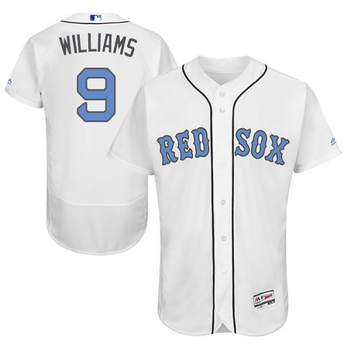 Men's Majestic Boston Red Sox #9 Ted Williams Authentic White 2016 Father's Day Fashion Flex Base MLB Jersey