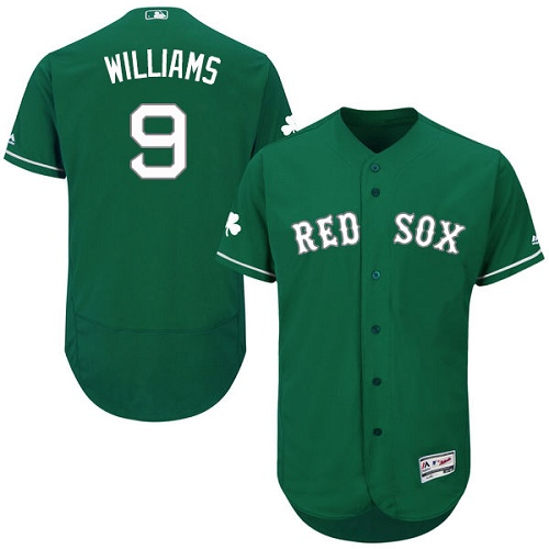 Men's Majestic Boston Red Sox #9 Ted Williams Green Celtic Flexbase Authentic Collection MLB Jersey