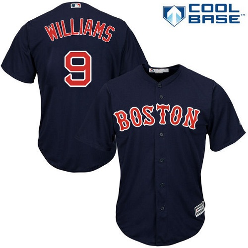 Men's Majestic Boston Red Sox #9 Ted Williams Replica Navy Blue Alternate Road Cool Base MLB Jersey