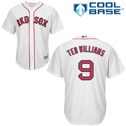 Men's Majestic Boston Red Sox #9 Ted Williams Replica White Home Cool Base MLB Jersey