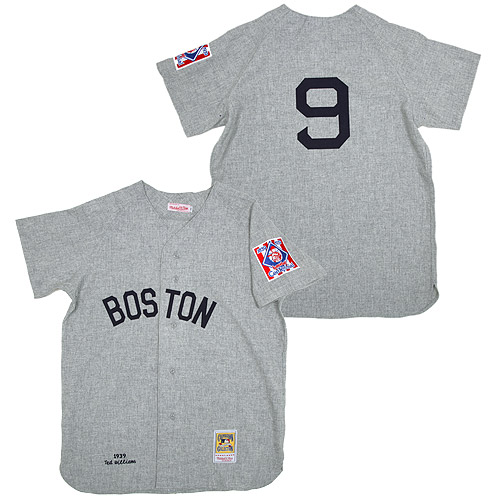 Men's Mitchell and Ness 1939 Boston Red Sox #9 Ted Williams Replica Grey Throwback MLB Jersey