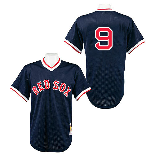 Men's Mitchell and Ness 1990 Boston Red Sox #9 Ted Williams Authentic Navy Blue Throwback MLB Jersey