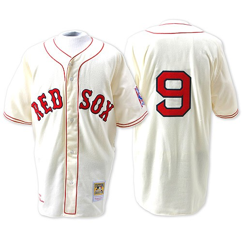 Men's Mitchell and Ness Boston Red Sox #9 Ted Williams Authentic Cream Throwback MLB Jersey