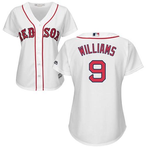 Women's Majestic Boston Red Sox #9 Ted Williams Replica White Home MLB Jersey
