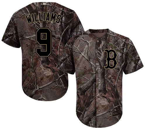 Youth Majestic Boston Red Sox #9 Ted Williams Authentic Camo Realtree Collection Flex Base MLB Jersey