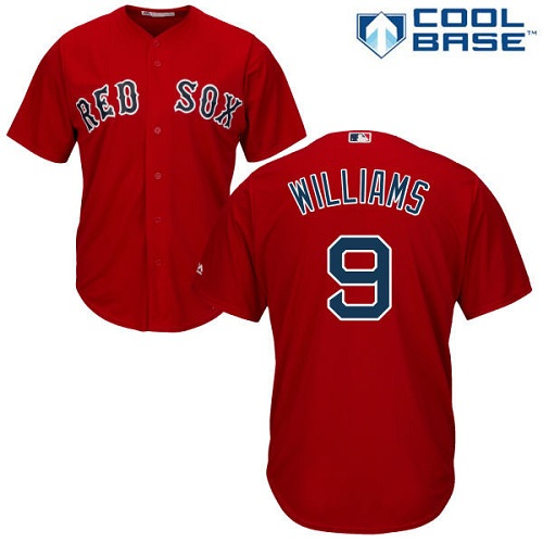 Youth Majestic Boston Red Sox #9 Ted Williams Authentic Red Alternate Home Cool Base MLB Jersey