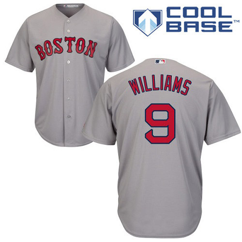 Youth Majestic Boston Red Sox #9 Ted Williams Replica Grey Road Cool Base MLB Jersey