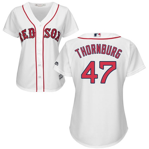 Women's Majestic Boston Red Sox #47 Tyler Thornburg Authentic White Home MLB Jersey