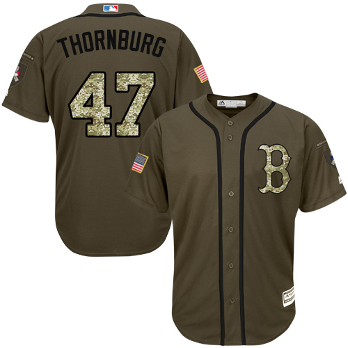 Youth Majestic Boston Red Sox #47 Tyler Thornburg Authentic Green Salute to Service MLB Jersey