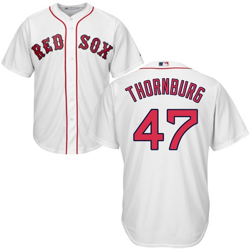 Youth Majestic Boston Red Sox #47 Tyler Thornburg Authentic White Home Cool Base MLB Jersey