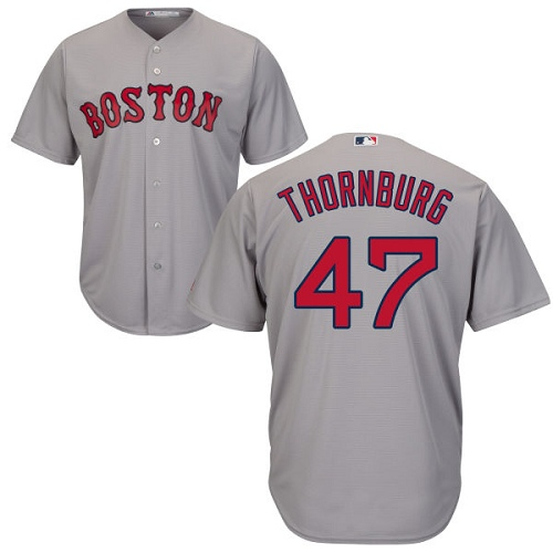 Youth Majestic Boston Red Sox #47 Tyler Thornburg Replica Grey Road Cool Base MLB Jersey