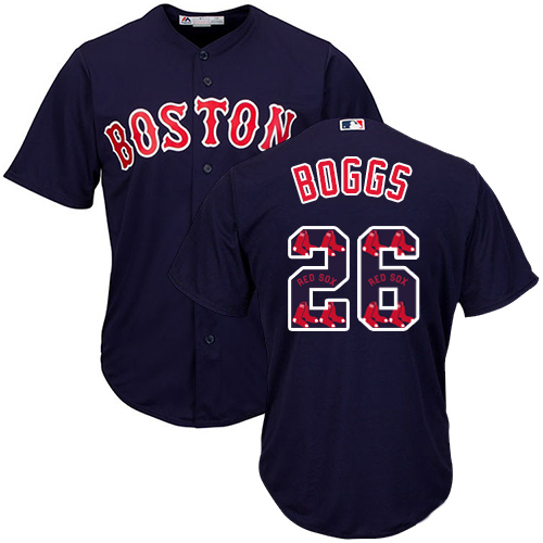 Men's Majestic Boston Red Sox #26 Wade Boggs Authentic Navy Blue Team Logo Fashion Cool Base MLB Jersey