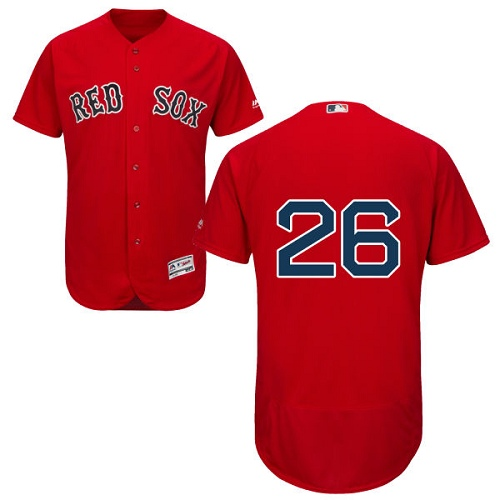 Men's Majestic Boston Red Sox #26 Wade Boggs Red Alternate Flex Base Authentic Collection MLB Jersey