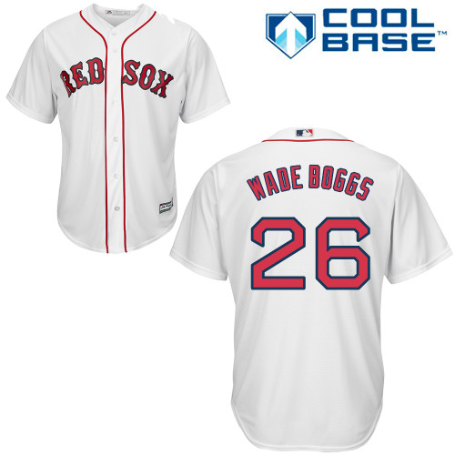 Men's Majestic Boston Red Sox #26 Wade Boggs Replica White Home Cool Base MLB Jersey